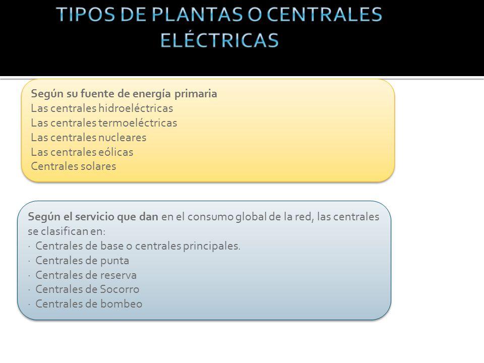 Según el servicio que dan en el consumo global de la red, las centrales se clasifican en: · Centrales de base o centrales principales.