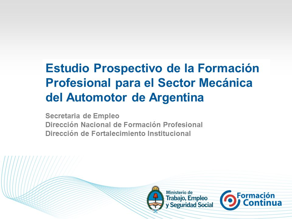 Estudio Prospectivo de la Formación Profesional para el Sector Mecánica del Automotor de Argentina Secretaria de Empleo Dirección Nacional de Formación Profesional Dirección de Fortalecimiento Institucional
