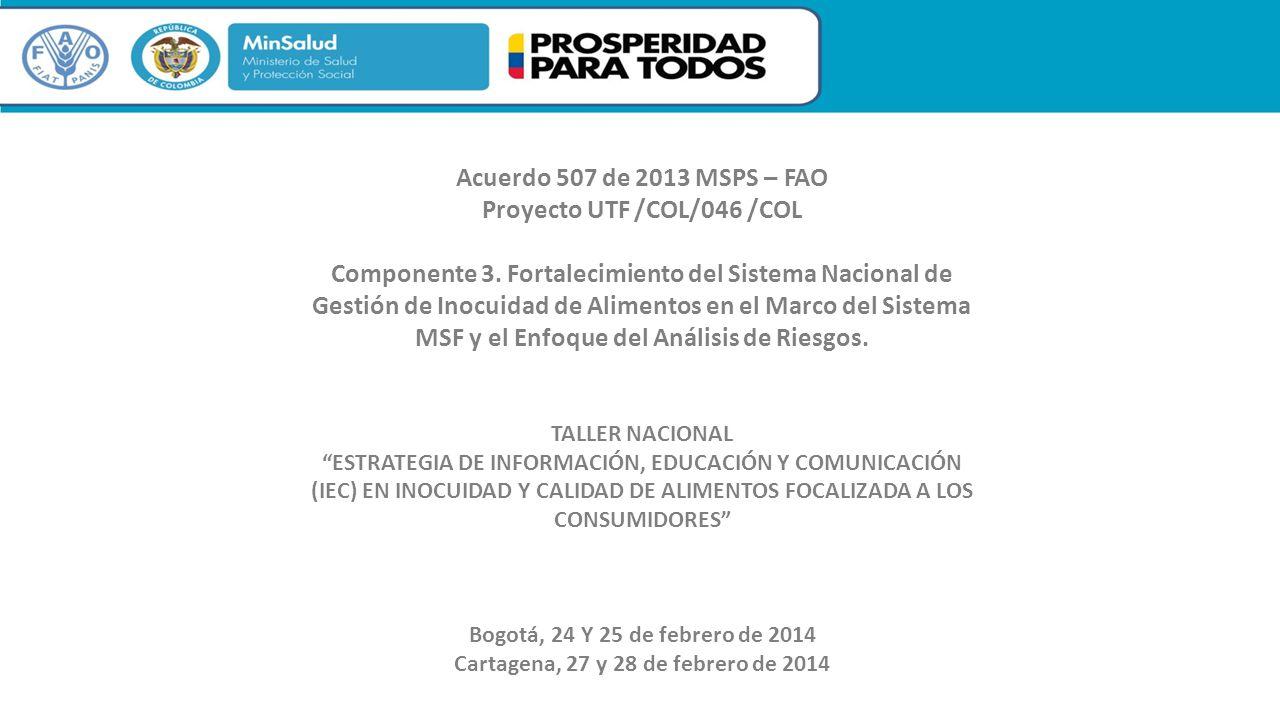 TALLER NACIONAL ESTRATEGIA DE INFORMACIÓN, EDUCACIÓN Y COMUNICACIÓN (IEC) EN INOCUIDAD Y CALIDAD DE ALIMENTOS FOCALIZADA A LOS CONSUMIDORES Bogotá, 24 Y 25 de febrero de 2014 Cartagena, 27 y 28 de febrero de 2014 Acuerdo 507 de 2013 MSPS – FAO Proyecto UTF /COL/046 /COL Componente 3.