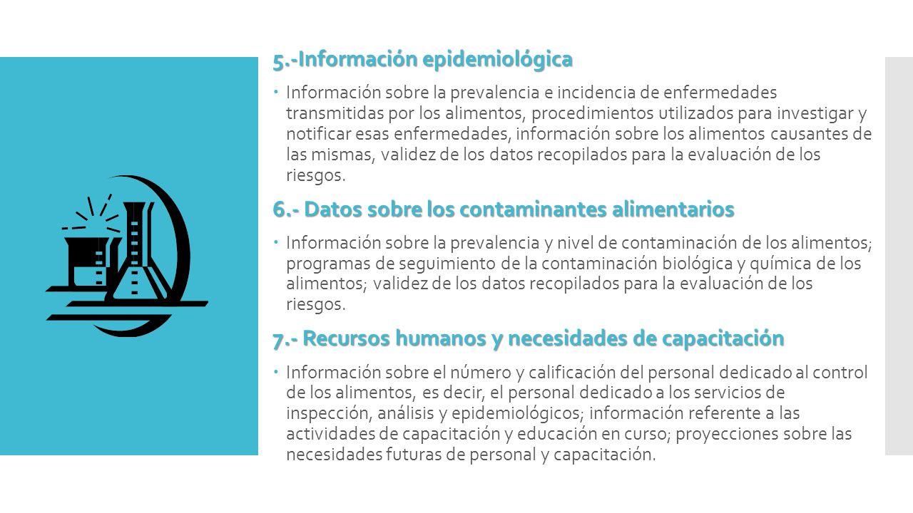 5.-Información epidemiológica  Información sobre la prevalencia e incidencia de enfermedades transmitidas por los alimentos, procedimientos utilizados para investigar y notificar esas enfermedades, información sobre los alimentos causantes de las mismas, validez de los datos recopilados para la evaluación de los riesgos.