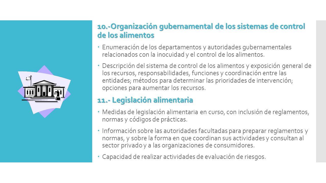 10.-Organización gubernamental de los sistemas de control de los alimentos  Enumeración de los departamentos y autoridades gubernamentales relacionados con la inocuidad y el control de los alimentos.