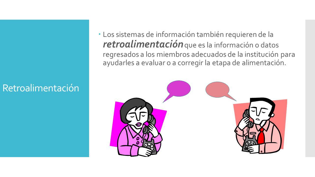 Retroalimentación  Los sistemas de información también requieren de la retroalimentación que es la información o datos regresados a los miembros adecuados de la institución para ayudarles a evaluar o a corregir la etapa de alimentación.