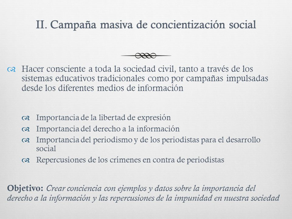 II. Campaña masiva de concientización socialII.