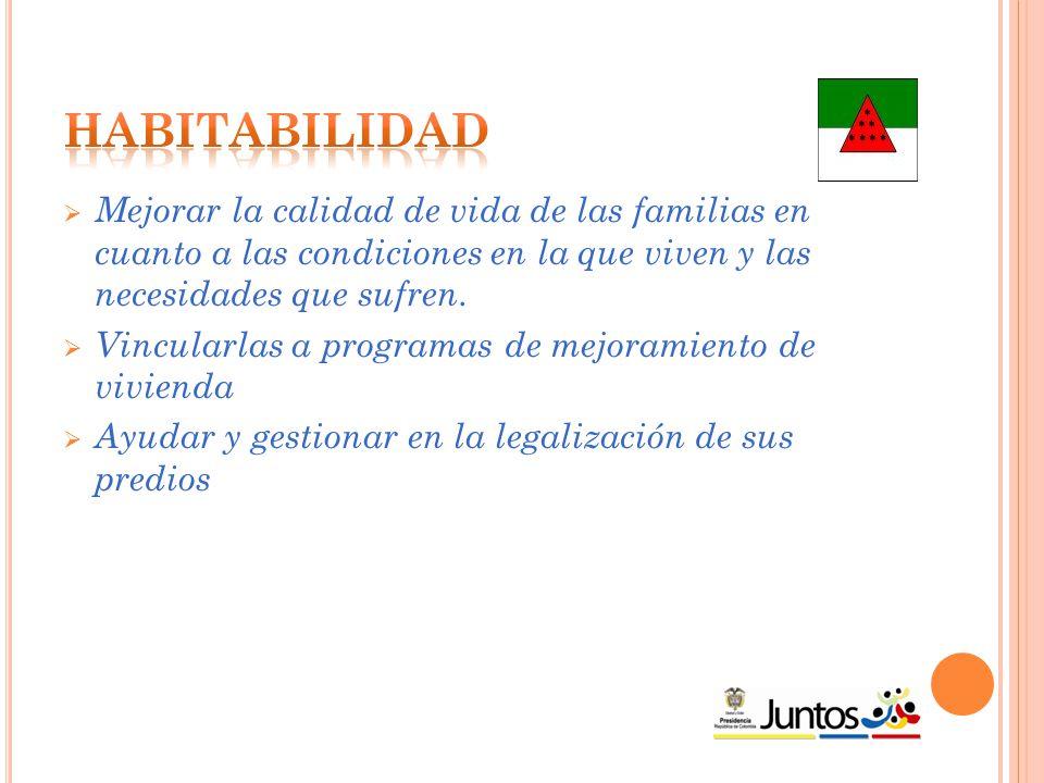  Mejorar la calidad de vida de las familias en cuanto a las condiciones en la que viven y las necesidades que sufren.