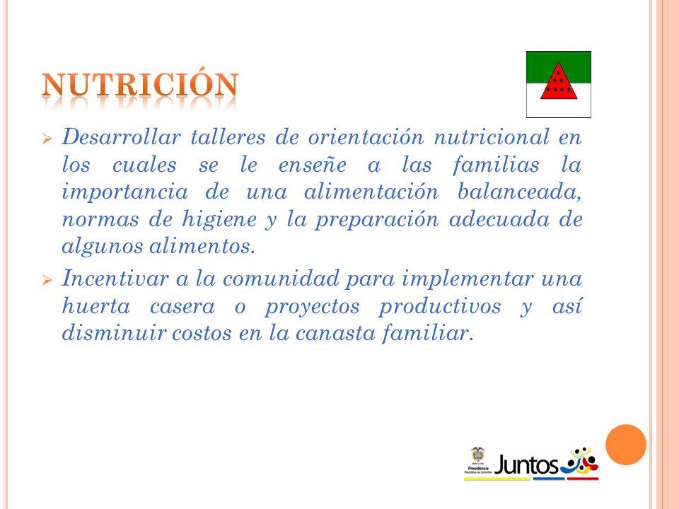  Desarrollar talleres de orientación nutricional en los cuales se le enseñe a las familias la importancia de una alimentación balanceada, normas de higiene y la preparación adecuada de algunos alimentos.