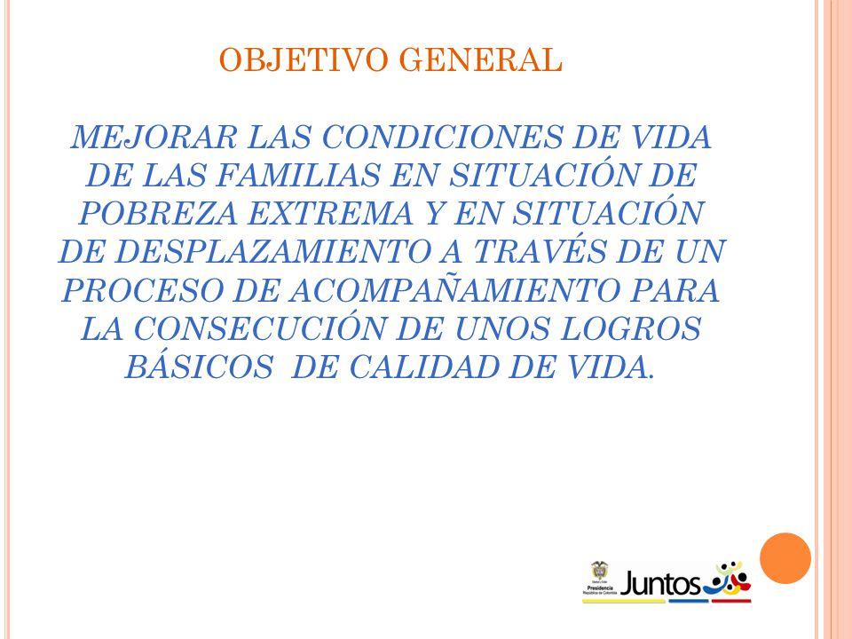 OBJETIVO GENERAL MEJORAR LAS CONDICIONES DE VIDA DE LAS FAMILIAS EN SITUACIÓN DE POBREZA EXTREMA Y EN SITUACIÓN DE DESPLAZAMIENTO A TRAVÉS DE UN PROCESO DE ACOMPAÑAMIENTO PARA LA CONSECUCIÓN DE UNOS LOGROS BÁSICOS DE CALIDAD DE VIDA.