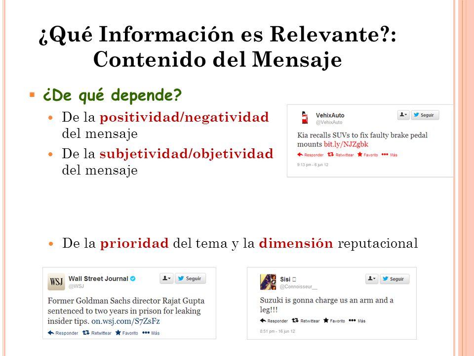 ¿Qué Información es Relevante : Contenido del Mensaje  ¿De qué depende.