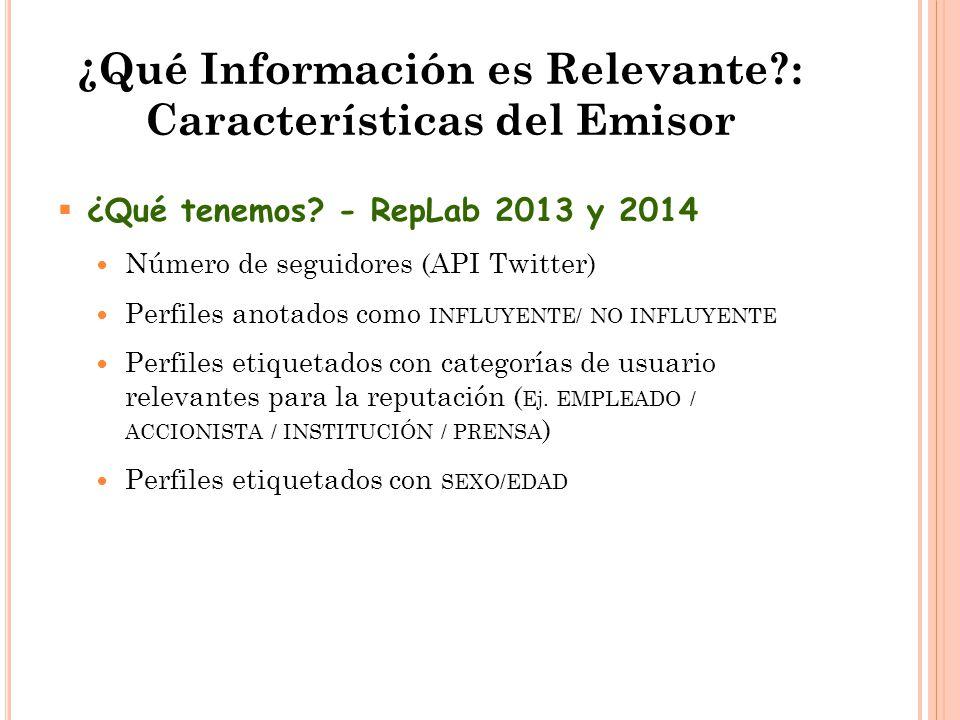 ¿Qué Información es Relevante : Características del Emisor  ¿Qué tenemos.