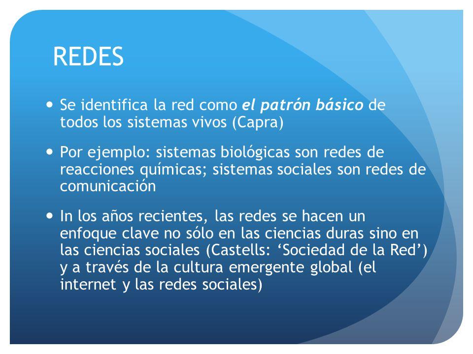 REDES Se identifica la red como el patrón básico de todos los sistemas vivos (Capra) Por ejemplo: sistemas biológicas son redes de reacciones químicas; sistemas sociales son redes de comunicación In los años recientes, las redes se hacen un enfoque clave no sólo en las ciencias duras sino en las ciencias sociales (Castells: 'Sociedad de la Red') y a través de la cultura emergente global (el internet y las redes sociales)