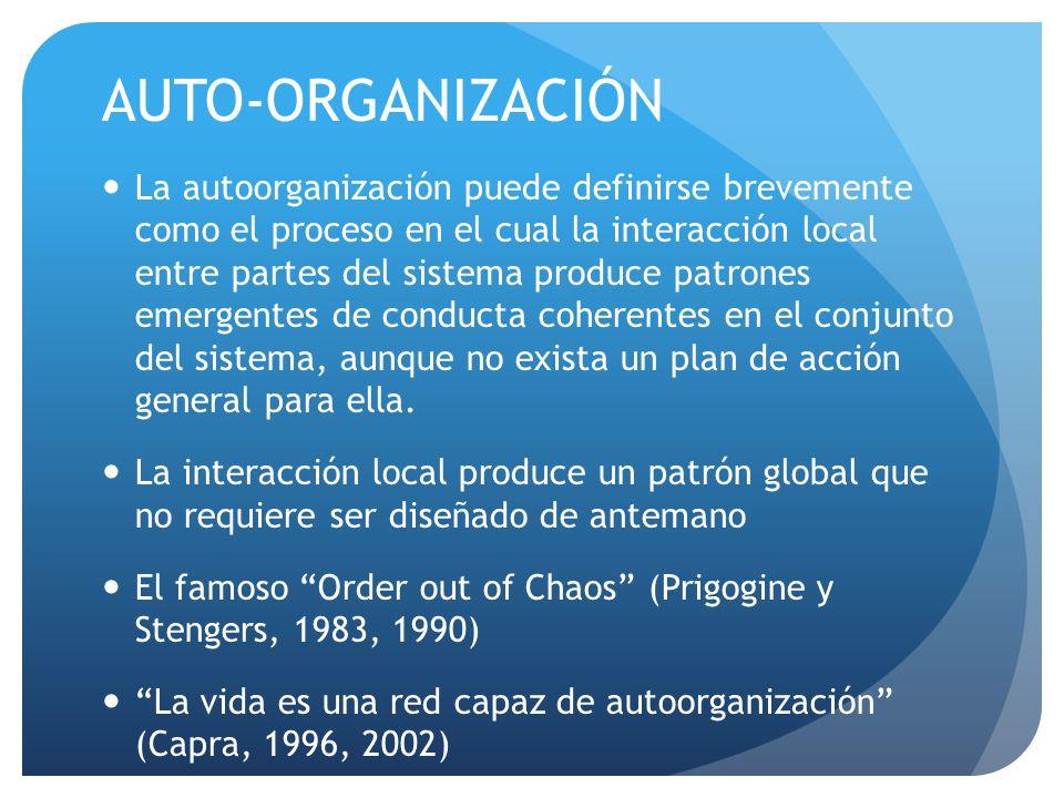 AUTO-ORGANIZACIÓN La autoorganización puede definirse brevemente como el proceso en el cual la interacción local entre partes del sistema produce patrones emergentes de conducta coherentes en el conjunto del sistema, aunque no exista un plan de acción general para ella.