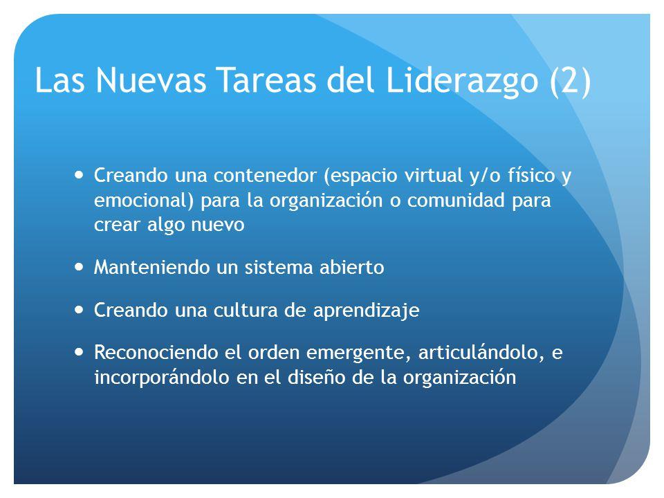 Las Nuevas Tareas del Liderazgo (2) Creando una contenedor (espacio virtual y/o físico y emocional) para la organización o comunidad para crear algo nuevo Manteniendo un sistema abierto Creando una cultura de aprendizaje Reconociendo el orden emergente, articulándolo, e incorporándolo en el diseño de la organización