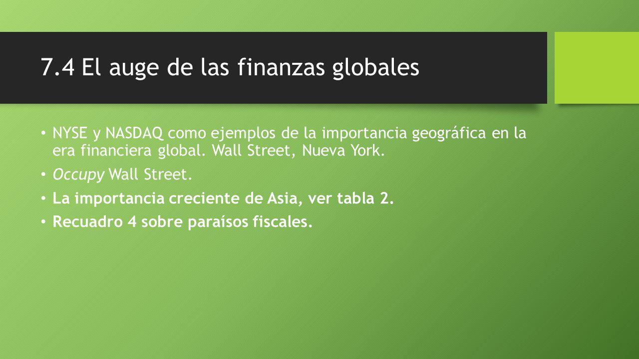 7.4 El auge de las finanzas globales NYSE y NASDAQ como ejemplos de la importancia geográfica en la era financiera global.