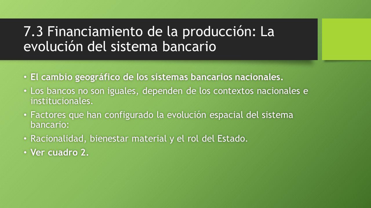 7.3 Financiamiento de la producción: La evolución del sistema bancario El cambio geográfico de los sistemas bancarios nacionales.