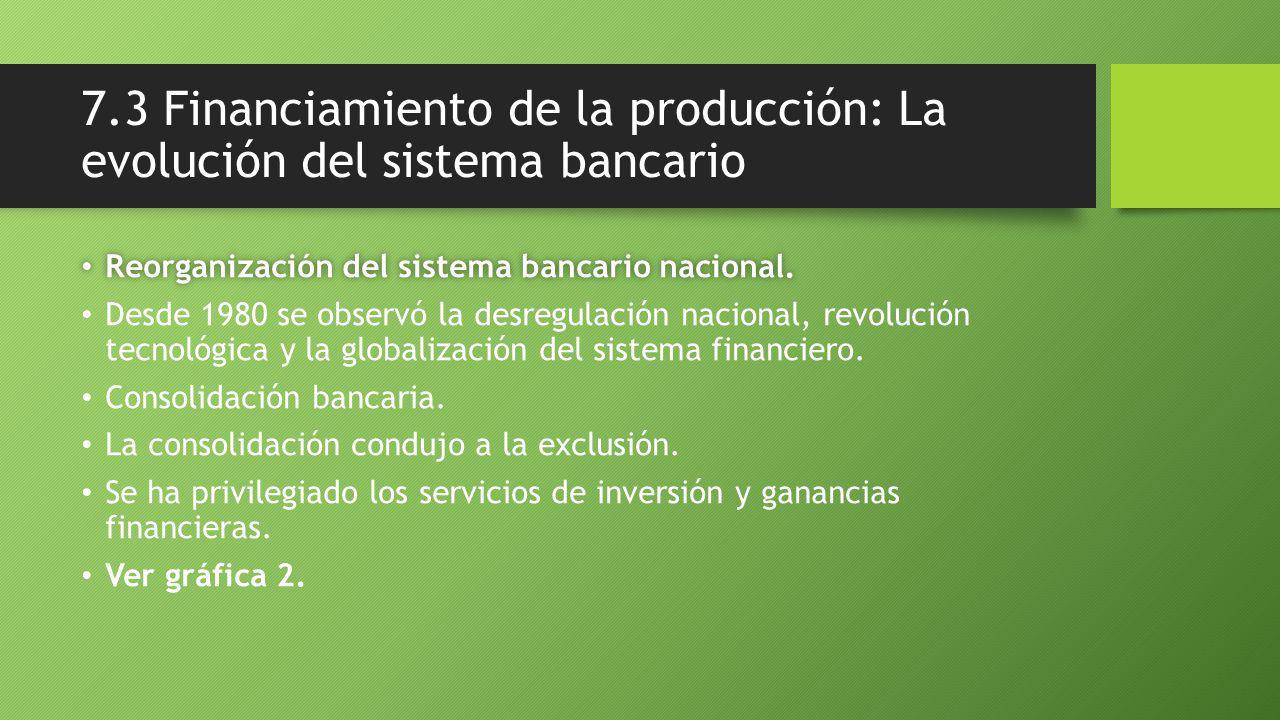 7.3 Financiamiento de la producción: La evolución del sistema bancario Reorganización del sistema bancario nacional.