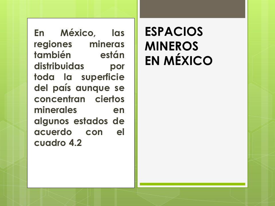 En México, las regiones mineras también están distribuidas por toda la superficie del país aunque se concentran ciertos minerales en algunos estados de acuerdo con el cuadro 4.2 ESPACIOS MINEROS EN MÉXICO