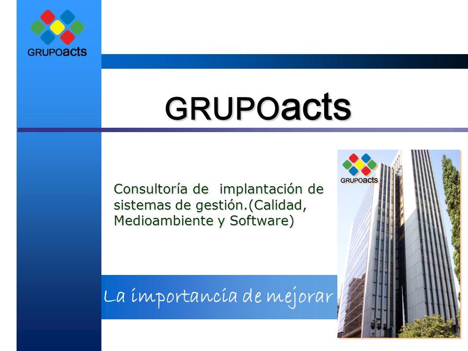 La importancia de mejorar GRUPO acts Consultoría de implantación de sistemas de gestión.(Calidad, Medioambiente y Software)