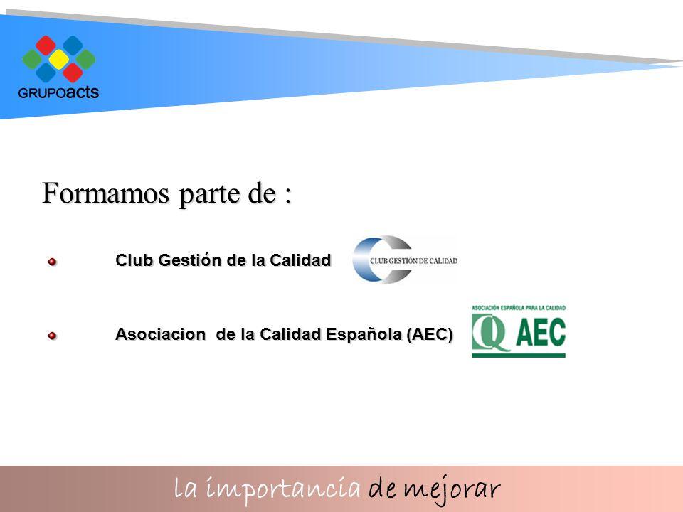 la importancia de mejorar Formamos parte de : Club Gestión de la Calidad Asociacion de la Calidad Española (AEC)