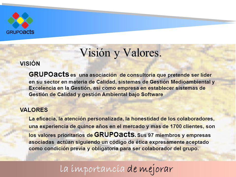 la importancia de mejorar Visión y Valores.