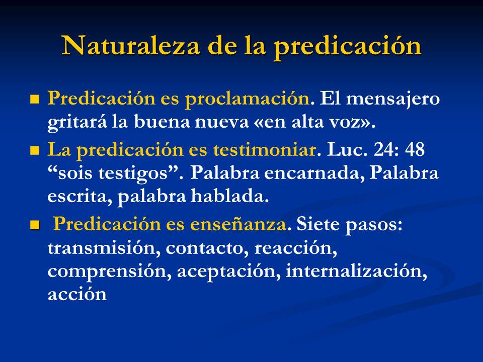 Naturaleza de la predicación Predicación es proclamación.