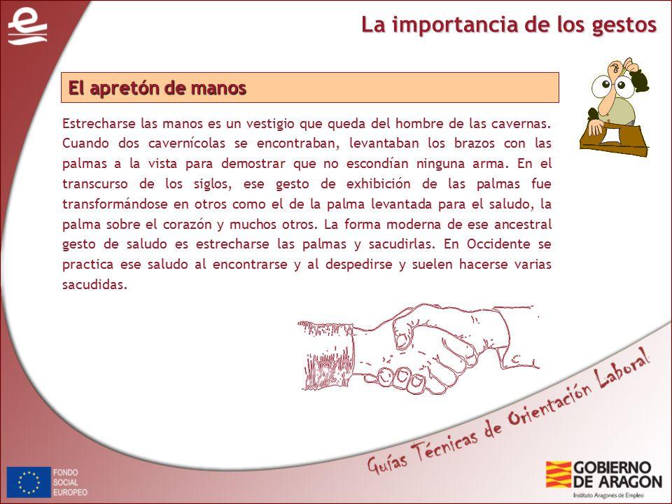La importancia de los gestos Estrecharse las manos es un vestigio que queda del hombre de las cavernas.