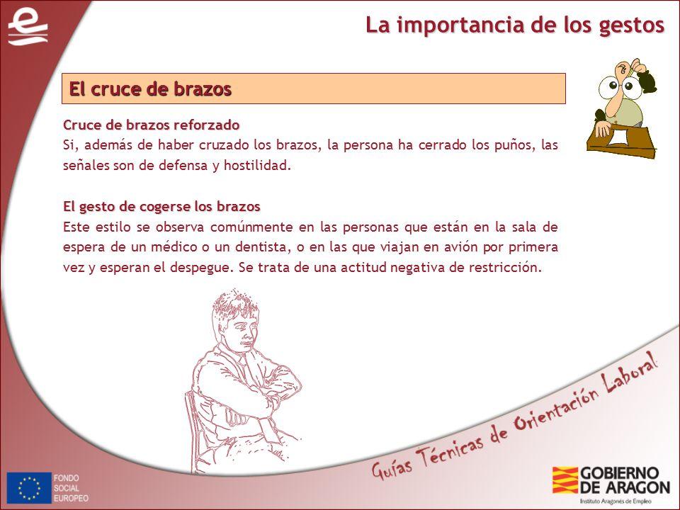 La importancia de los gestos Cruce de brazos reforzado Si, además de haber cruzado los brazos, la persona ha cerrado los puños, las señales son de defensa y hostilidad.
