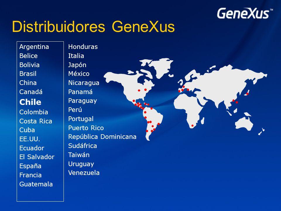 Distribuidores GeneXus Argentina Belice Bolivia Brasil China Canadá Chile Colombia Costa Rica Cuba EE.UU.