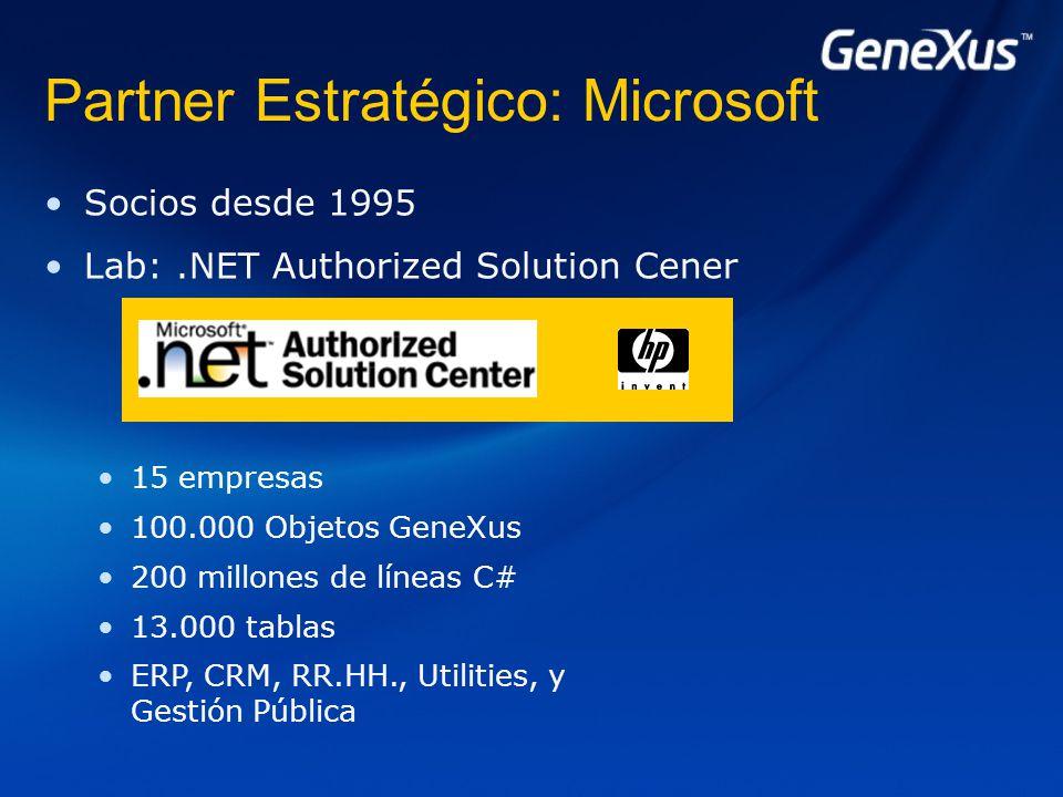 Socios desde 1995 Lab:.NET Authorized Solution Cener 15 empresas 100.000 Objetos GeneXus 200 millones de líneas C# 13.000 tablas ERP, CRM, RR.HH., Utilities, y Gestión Pública Partner Estratégico: Microsoft
