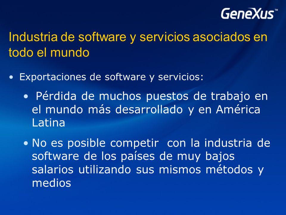 Industria de software y servicios asociados en todo el mundo Exportaciones de software y servicios: Pérdida de muchos puestos de trabajo en el mundo más desarrollado y en América Latina No es posible competir con la industria de software de los países de muy bajos salarios utilizando sus mismos métodos y medios