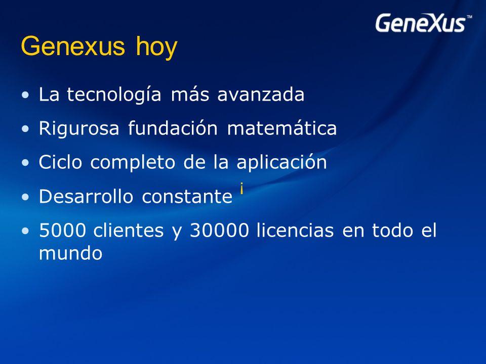 Genexus hoy La tecnología más avanzada Rigurosa fundación matemática Ciclo completo de la aplicación Desarrollo constante 5000 clientes y 30000 licencias en todo el mundo ¡