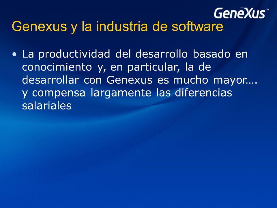 Genexus y la industria de software La productividad del desarrollo basado en conocimiento y, en particular, la de desarrollar con Genexus es mucho mayor….