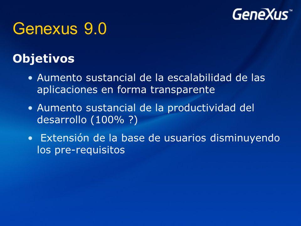Genexus 9.0 Objetivos Aumento sustancial de la escalabilidad de las aplicaciones en forma transparente Aumento sustancial de la productividad del desarrollo (100% ) Extensión de la base de usuarios disminuyendo los pre-requisitos