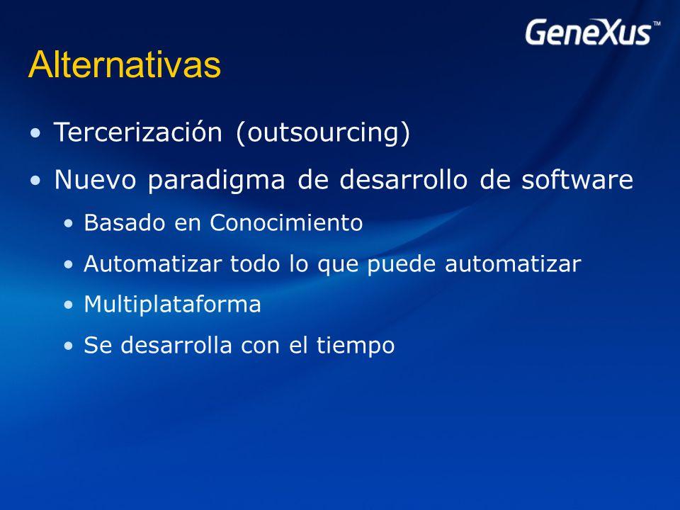 Alternativas Tercerización (outsourcing) Nuevo paradigma de desarrollo de software Basado en Conocimiento Automatizar todo lo que puede automatizar Multiplataforma Se desarrolla con el tiempo