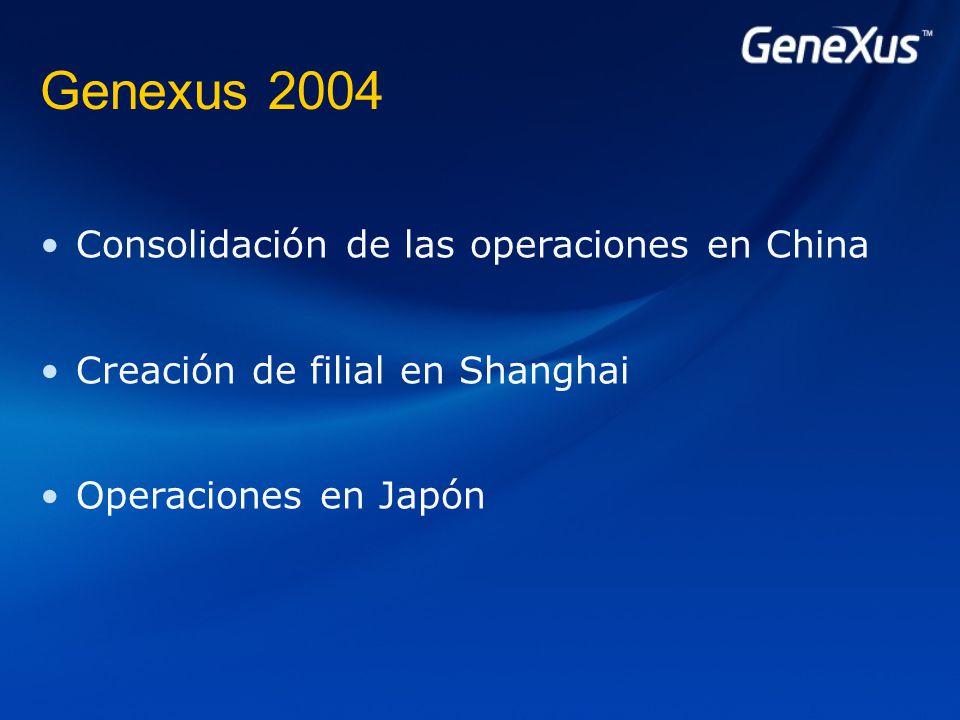 Genexus 2004 Consolidación de las operaciones en China Creación de filial en Shanghai Operaciones en Japón