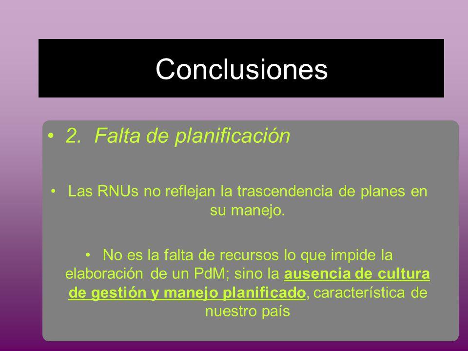 Conclusiones 2.Falta de planificación Las RNUs no reflejan la trascendencia de planes en su manejo.