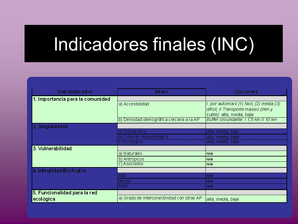 Indicadores finales (INC)