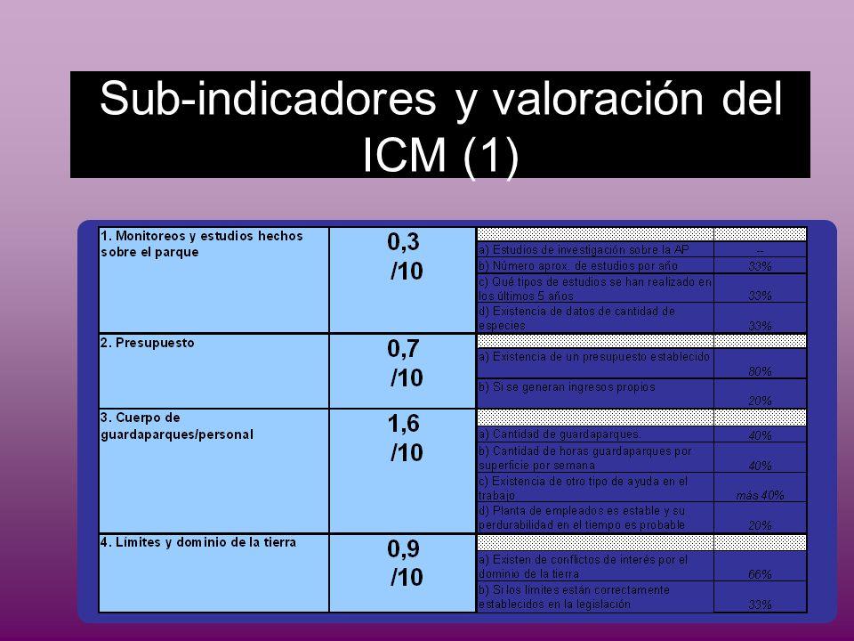 Sub-indicadores y valoración del ICM (1)