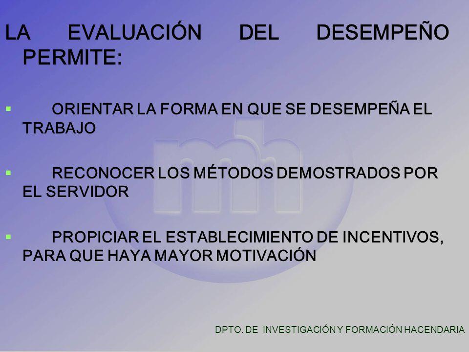 LA EVALUACIÓN DEL DESEMPEÑO PERMITE:   ORIENTAR LA FORMA EN QUE SE DESEMPEÑA EL TRABAJO   RECONOCER LOS MÉTODOS DEMOSTRADOS POR EL SERVIDOR   PROPICIAR EL ESTABLECIMIENTO DE INCENTIVOS, PARA QUE HAYA MAYOR MOTIVACIÓN DPTO.