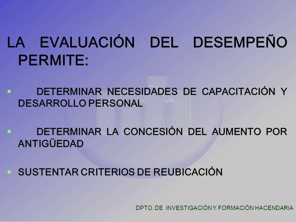 LA EVALUACIÓN DEL DESEMPEÑO PERMITE:   DETERMINAR NECESIDADES DE CAPACITACIÓN Y DESARROLLO PERSONAL   DETERMINAR LA CONCESIÓN DEL AUMENTO POR ANTIGÜEDAD   SUSTENTAR CRITERIOS DE REUBICACIÓN DPTO.