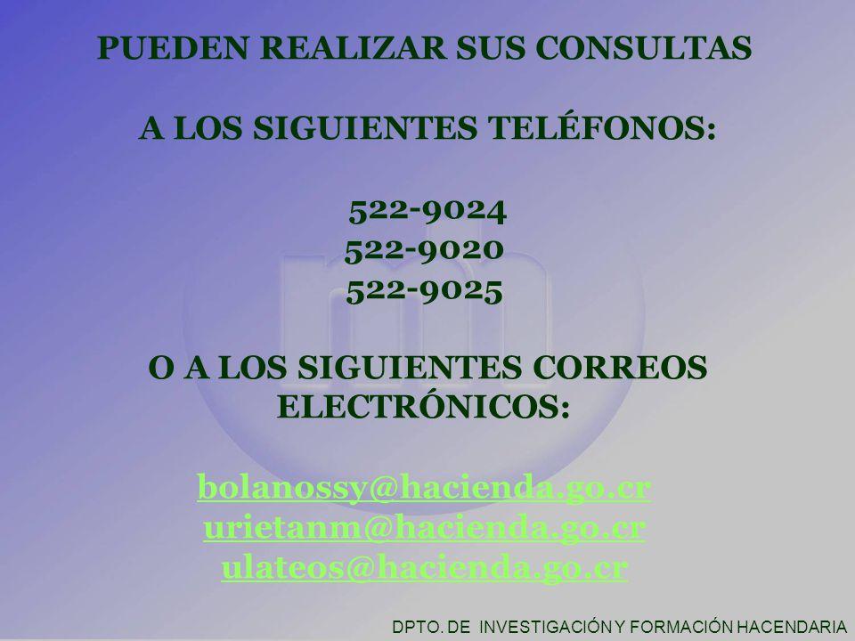 PUEDEN REALIZAR SUS CONSULTAS A LOS SIGUIENTES TELÉFONOS: 522-9024 522-9020 522-9025 O A LOS SIGUIENTES CORREOS ELECTRÓNICOS: bolanossy@hacienda.go.cr urietanm@hacienda.go.cr ulateos@hacienda.go.cr DPTO.