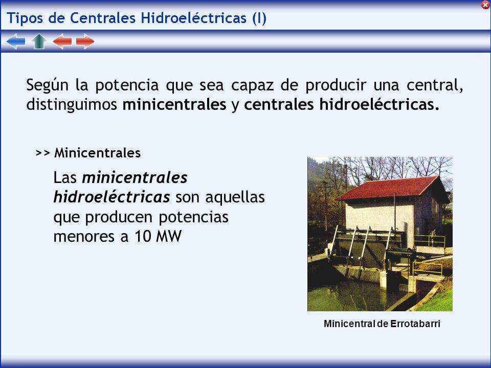 Tipos de Centrales Hidroeléctricas (I) Según la potencia que sea capaz de producir una central, distinguimos minicentrales y centrales hidroeléctricas.