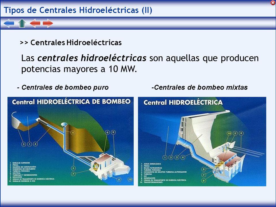 Tipos de Centrales Hidroeléctricas (II) >> Centrales Hidroeléctricas Las centrales hidroeléctricas son aquellas que producen potencias mayores a 10 MW.