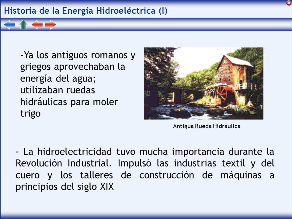 Historia de la Energía Hidroeléctrica (I) -Ya los antiguos romanos y griegos aprovechaban la energía del agua; utilizaban ruedas hidráulicas para moler trigo - La hidroelectricidad tuvo mucha importancia durante la Revolución Industrial.