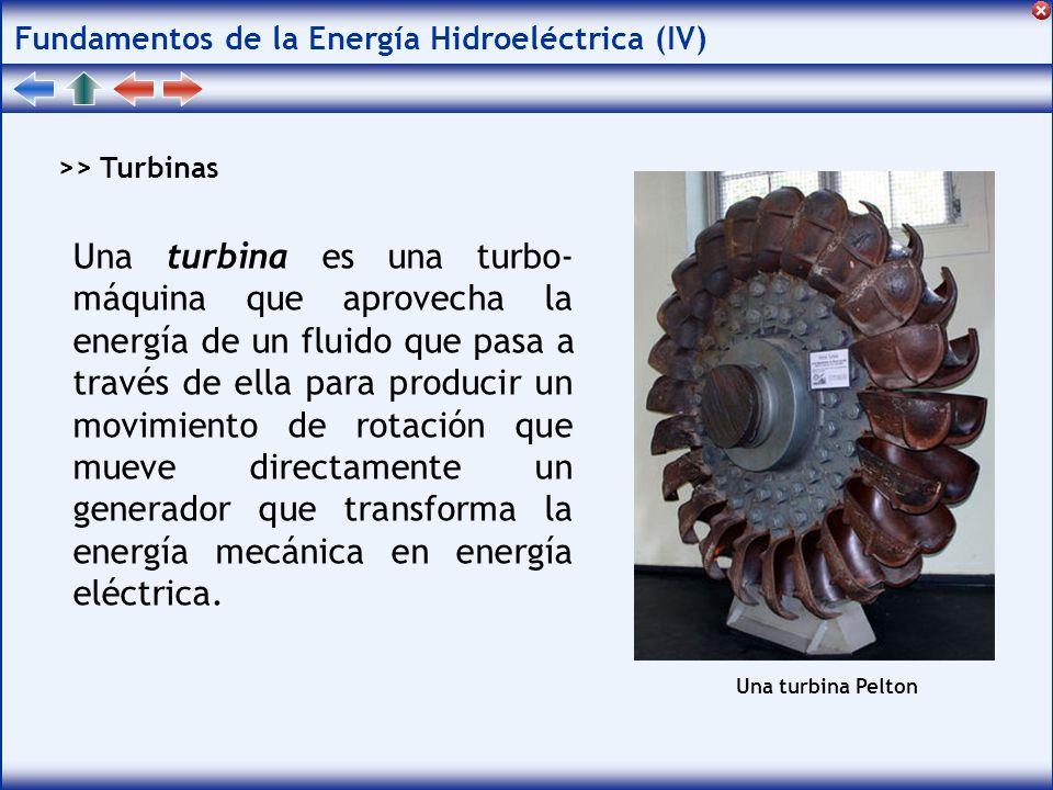 Fundamentos de la Energía Hidroeléctrica (IV) >> Turbinas Una turbina es una turbo- máquina que aprovecha la energía de un fluido que pasa a través de ella para producir un movimiento de rotación que mueve directamente un generador que transforma la energía mecánica en energía eléctrica.