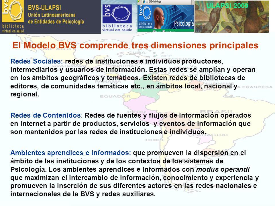 ULAPSi 2009 El Modelo BVS comprende tres dimensiones principales Redes Sociales: redes de instituciones e individuos productores, intermediarios y usuarios de información.