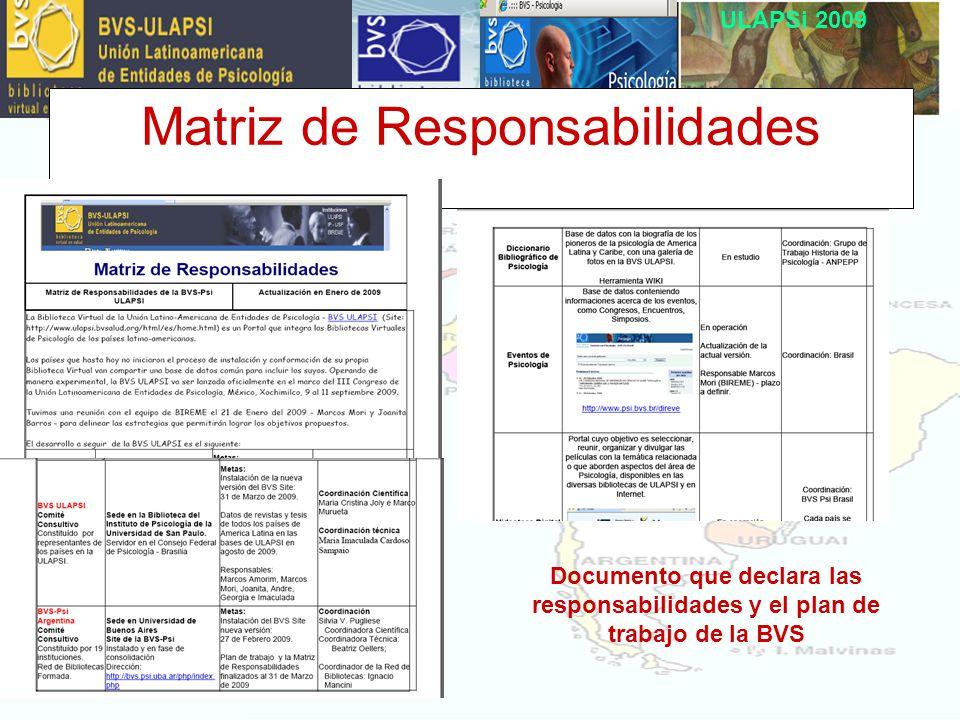 ULAPSi 2009 Matriz de Responsabilidades Documento que declara las responsabilidades y el plan de trabajo de la BVS