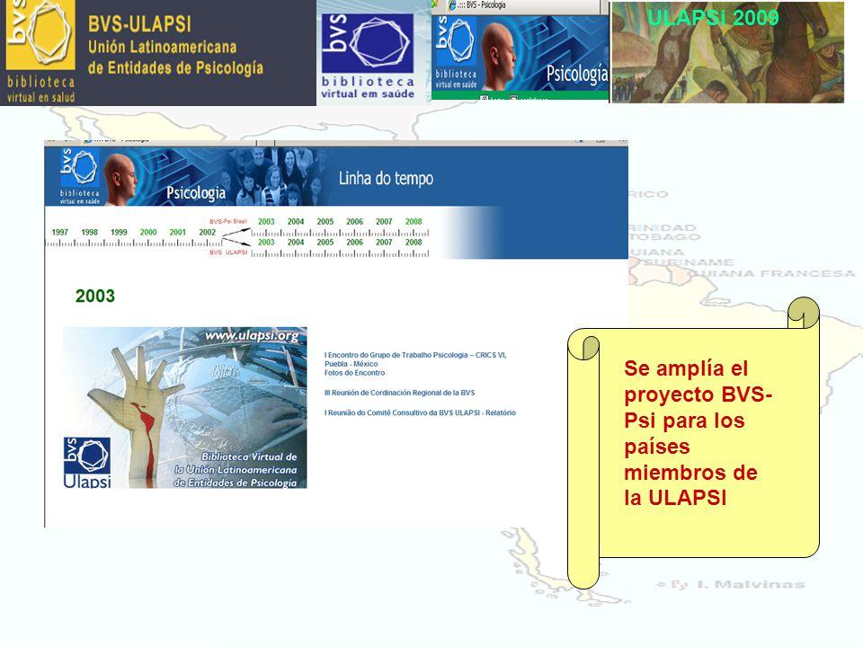 ULAPSi 2009 Se amplía el proyecto BVS- Psi para los países miembros de la ULAPSI