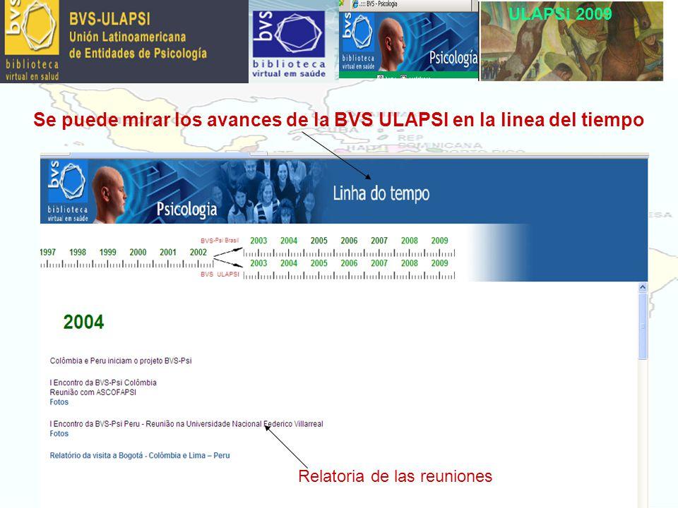 ULAPSi 2009 Relatoria de las reuniones Se puede mirar los avances de la BVS ULAPSI en la linea del tiempo