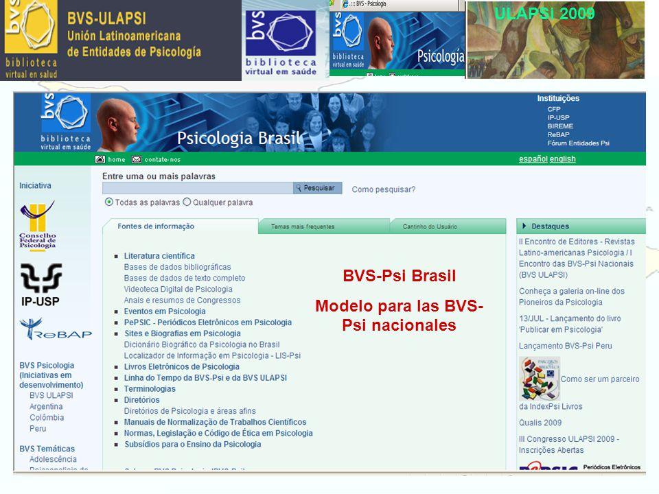 ULAPSi 2009 BVS-Psi Brasil Modelo para las BVS- Psi nacionales