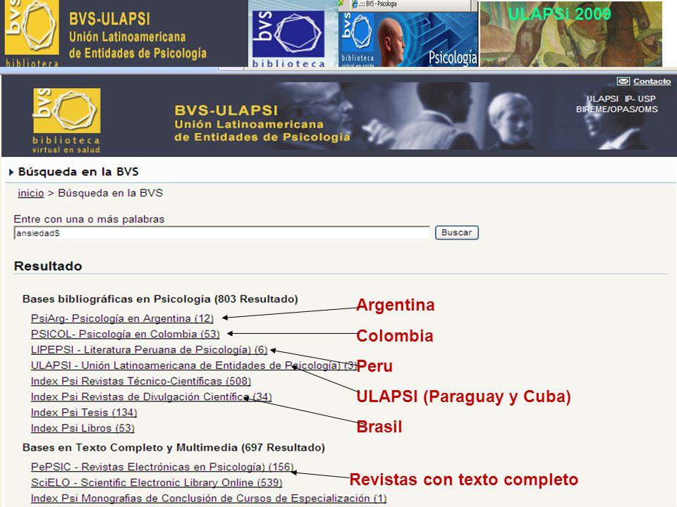 ULAPSi 2009 Argentina Colombia Peru ULAPSI (Paraguay y Cuba) Brasil Revistas con texto completo