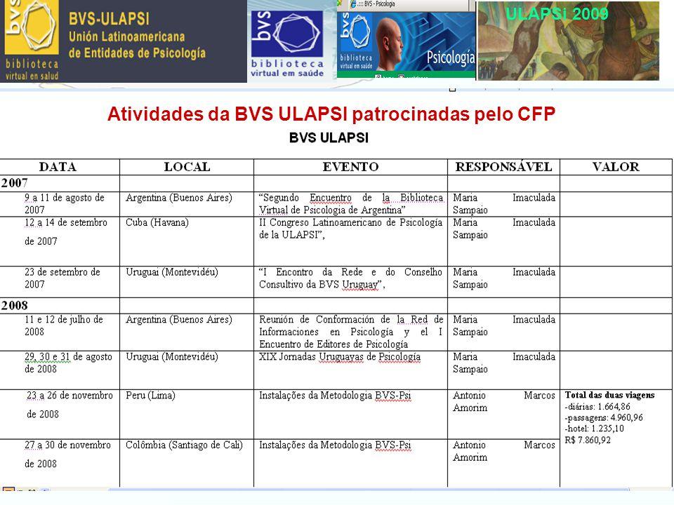 ULAPSi 2009 La gestión financera de la BVS ULAPSI Atividades da BVS ULAPSI patrocinadas pelo CFP